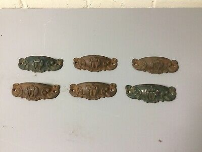 6 Antique Vintage Ornate Cast Metal Drawer Door Bin Pull Music Note Victorian