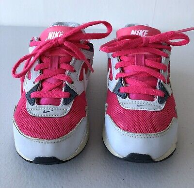 Girls Child Kid Pink Grey White Air Max Size 10.5 Lace Up
