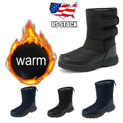 Men's Women's Snow Boots Waterproof Fur Fleece Lined Winter Anti Slip Warm Shoes
