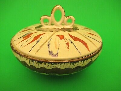 """Fohr Ceramic Germany Mid Century Art Pottery Covered Bowl 6"""" wide 4"""" tall"""