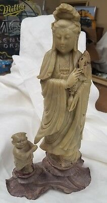 Antique Asian Soapstone Chinese Woman / Child ~ Real Nice Piece!  Circa 1920's