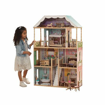 Doll House Girls Dream Pretend Play Playhouse Dollhouse Gift Wooden w/ Furniture