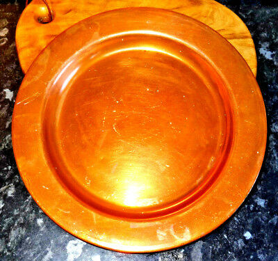 Antique French Copper Communion Plate / Bread Plate - Very Heavy