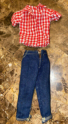 Vintage Barbie Doll RED CHECK SHIRT & JEANS LOT Picnic Set Outfit #967 Clothes