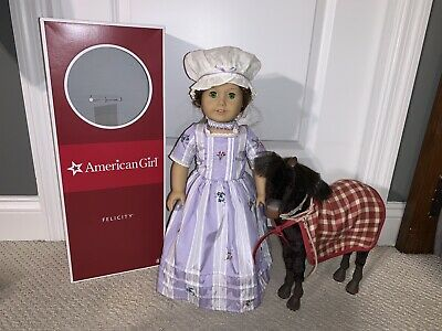 "American Girl Felicity Merriman 18"" Doll In Box with her Foal Patriot"
