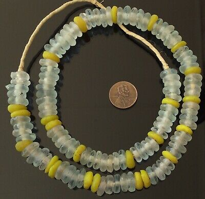 Clear /Yellow transparent disk Krobo Recycled Glass African trade beads-Ghana