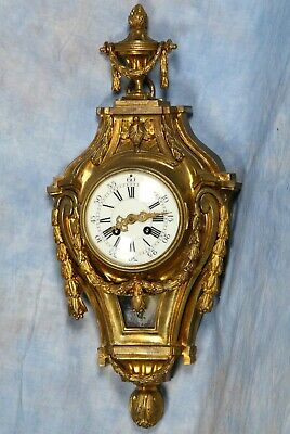 French Antique Bronze Cartel Wall Clock 19th Century Great Condition