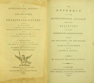 Chalmers Supplemental Apology Believers SHAKESPEARE PAPERS 1799 Ireland 1ST NR