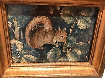 Antique Flemish Tapestry Fragment,Squirrel - charming, colorful, finely-detailed