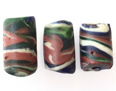 3 Antique Venetian Green multi Colored Swirled Wound African Glass Trade beads