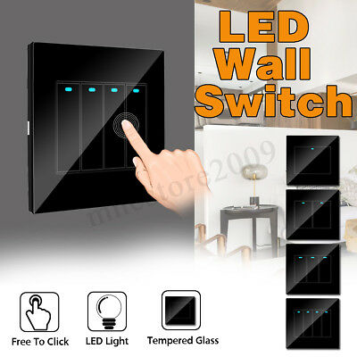 1/2/3/4 Gang Modern Home Wall LED Indicator Light Switch Glass Panel Push  _