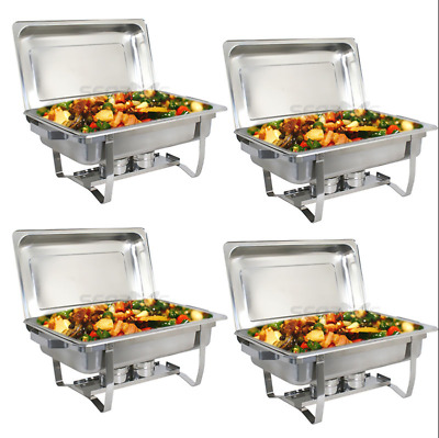 4 PACK CATERING STAINLESS STEEL CHAFER CHAFING Kitchen Hotel Wedding Party