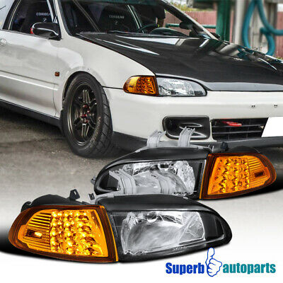 For 92-95 Honda Civic 2Dr/3Dr EG EH EJ LED Signal Corner Lamps+Headlights Black