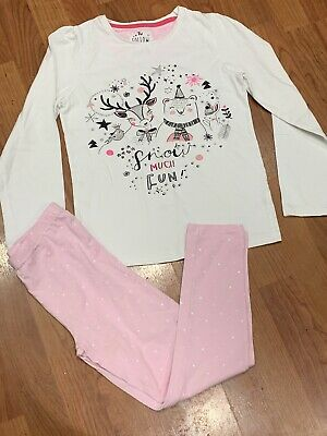 Fab Girls White Pink Cotton Christmas Pyjamas Set Age 8-9Yrs Great Condition