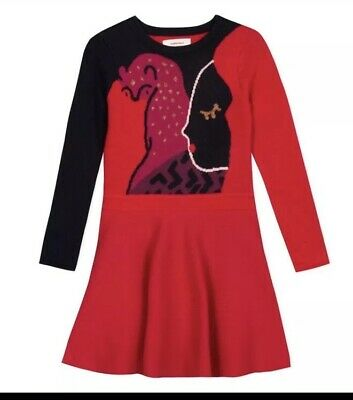Catimini Girls Red Knitted Skater Dress, New With Tags, 12 Years AW19
