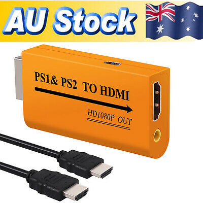 PS1 & PS2 to HDMI Video Converter Adapter 3.5mm Audio Jack + 1M HDMI Cable 1080p