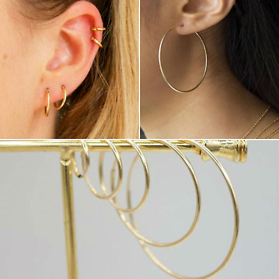 Endless Gold Hoop Earrings, 8mm - 60mm Real 925 Sterling Silver 18K Gold Dipped