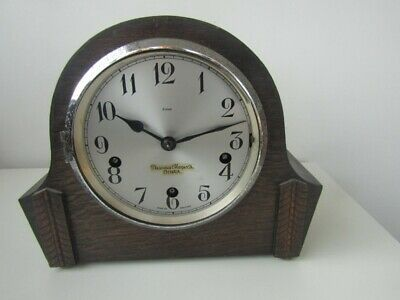 Old Vintage Enfield Art Deco Wooden Mantle Clock Spares Or Repair Rare