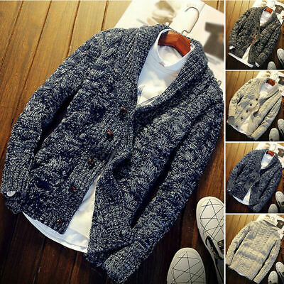 Mens Chunky Collared Cardigan Thick Warm Shawl Winter Sweater Knitted Jumper UK
