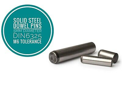 Metric Hardened and Ground Steel Dowel Pins DIN6325 5mm Diameter 25pcs