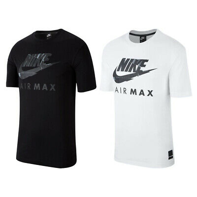 Nike Air Max NSW Mens Black White Tshirt Athletic Cut Jersey Cotton Fitness Tee
