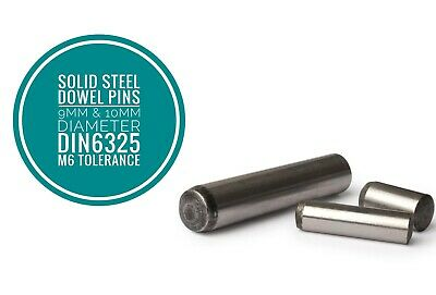 Metric Hardened and Ground Steel Dowel Pins DIN6325 9mm & 10 mm Diameter 10pcs