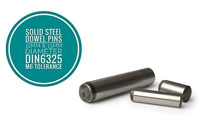 Metric Hardened and Ground Steel Dowel Pins DIN6325 12mm & 13mm Diameter 10pcs