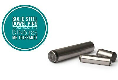Metric Hardened and Ground Steel Dowel Pins DIN6325 14mm Diameter 5pcs