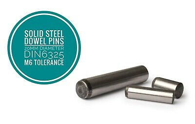 Metric Hardened and Ground Steel Dowel Pins DIN6325 20mm Diameter 2pcs