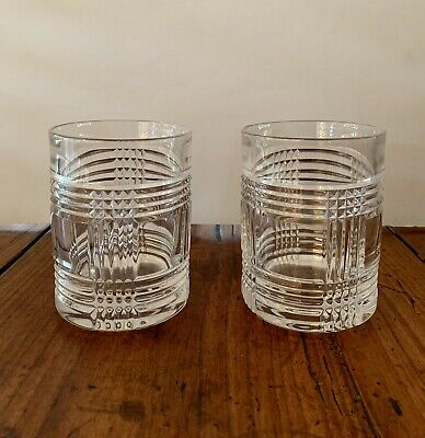 Ralph Lauren ~ Glen Plaid Double Old Fashioned 2 Crystal Glasses Whiskey