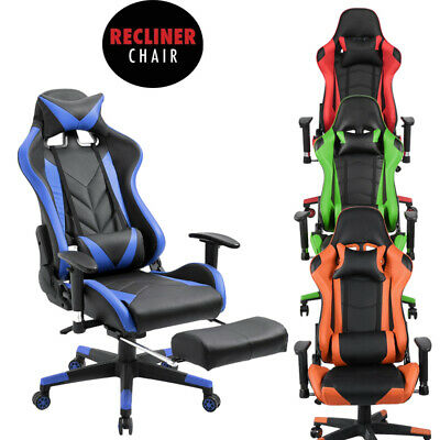Gaming Racing Chair Office Executive Adjustable Recliner PU Leather Footrest CR