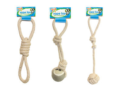 Figure of 8 Jute Rope Tug Dog Puppy Toy Fetch Throw Chew