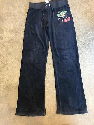 Girls Juicy Couture Tracksuit Bottoms Age 7 Navy Velour