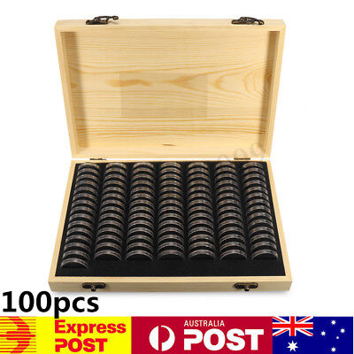 AUS 100pcs Coin Capsule Holder Wooden Container Storage Box Display Case  T