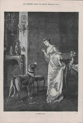 OLD ANTIQUE 1881 ENGRAVING PRINT LADY SCOLDING LARGE DOG AN INAPT PUPIL  b179