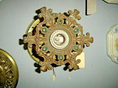 Antique Ornate Deco Wall or Ceiling Sconce. Original paint ~ blue & gold 781