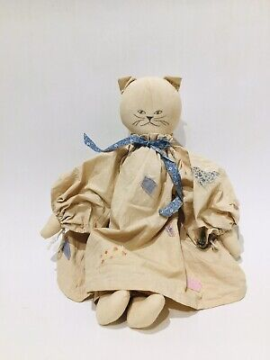 "Grungy Handmade Kitty Cat Rag Doll 19"" Patchwork Dress Primitive Farmhouse Decor"