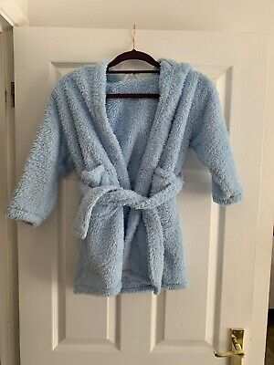 Next Girls Light Blue Fluffy Dressing Gown Age 5-6 Years