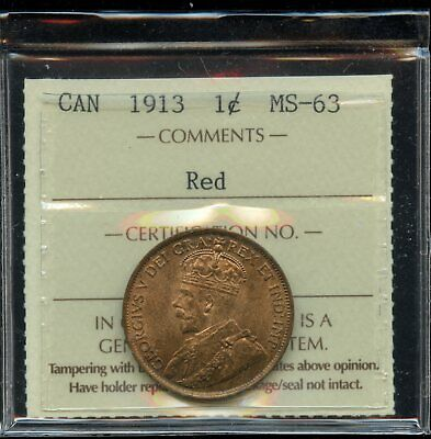 1913 Canada One Cent - ICCS MS-63, Red