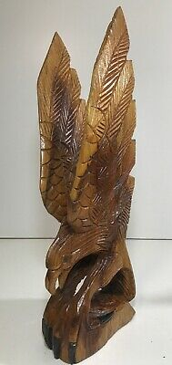 Vintage Hand Carved Wood Wooden Eagle Bird Folk Art figure Figurine Statue 21.5""