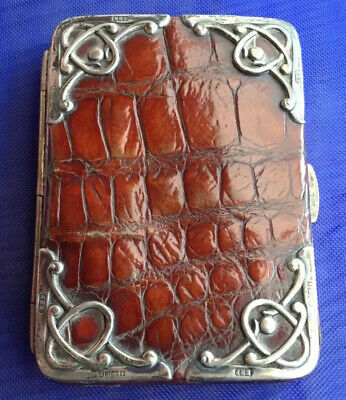 Victorian Brown Crocodile Leather & Silver Mounted Card Case.