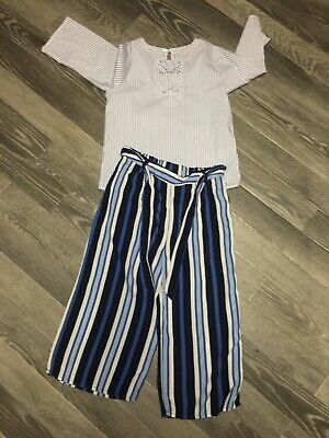 Girls Top & Trousers Culottes Next Age 8 Blues Lightweight Two Items