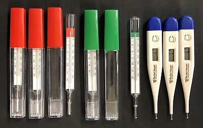 Fever Thermometers -Lot Of 8- Digital & Non-mercury