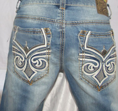 AFFLICTION Men Denim Jeans GACE Fletch Biker/'s Moto destroyed Rip Vintage Blue
