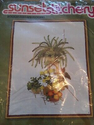 Sunset stitchery kit Boston Fern and Flowers has been started