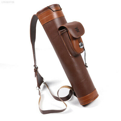 3D16 Cow Leather Archery Belt Bag Shooting Bowstring Brown Arrows Bag