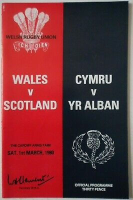 1980 WALES v SCOTLAND RUGBY UNION PROGRAMME with TICKET