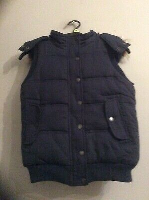 Fat Face Navy Gilet. Age. 10-11 Yrs.Good Condition.Faux Fur Lining. Hood. Winter