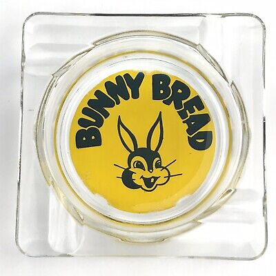 Vintage Bunny Bread Advertising Glass Ashtray