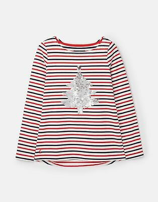 Joules 207173 Harbour Sequin in CREAM BLUE RED STRIPE Size 12